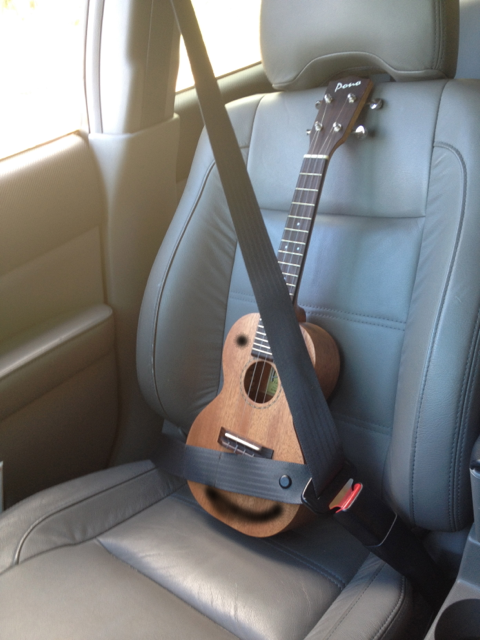 The ukulele should be wearing a seatbelt at all times.  Especially if it makes it look like a pirate!
