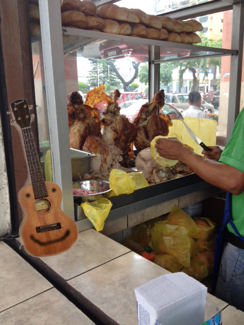 When in Ecuador, the ukulele can't resist the tasty turkey sandwiches.