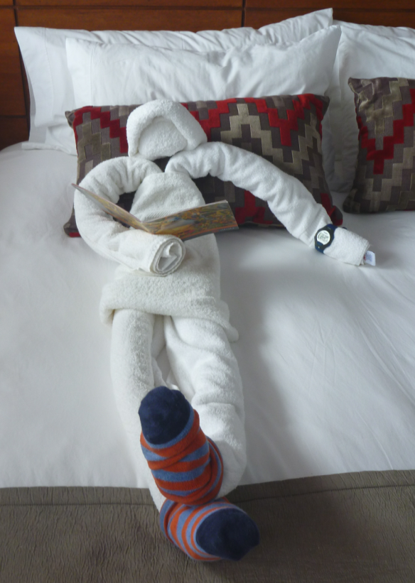 Even this guy, made entirely of bath towels, enjoys relaxing.