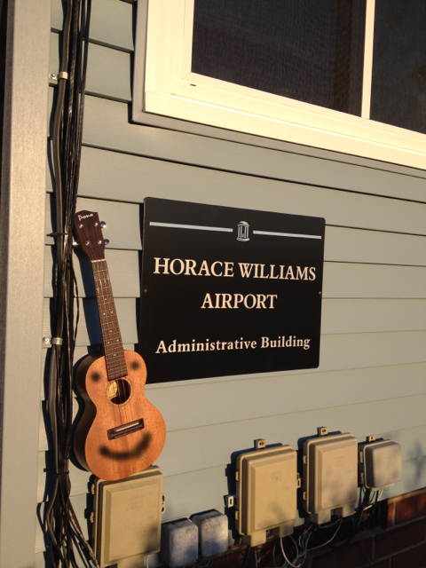 The ukulele enjoys taking in the occasional sunset at the nearby Horace Williams Airport.