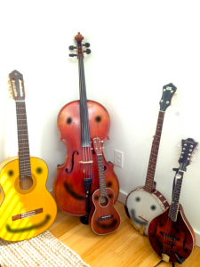 All of these instruments are different, and the cello doesn't trust the banjo all of the time, but for the most part they get along!