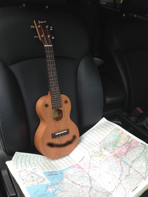 The ukulele isn't all that good with maps. Good thing he can get his phone to tell him when to turn left!
