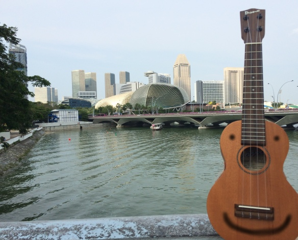Do you see that building in the background that looks like a durian shaped performing arts center? It actually is a durian shaped performing arts center. One day the ukulele will play there.