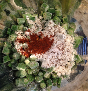 Here's the okra, flour, corn meal, salt, pepper and chili powder before I stir it all together.