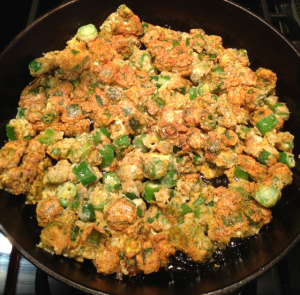 Here's what the okra looks like after I've completed flipping all of it.